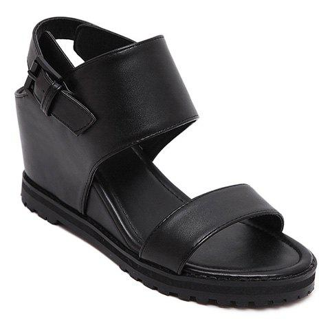 Fashionable Wedge Heel and Black Color Design Women's Sandals