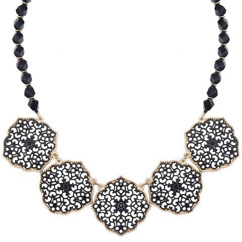 Beads Faux Crystal Hollow Out Necklace - BLACK