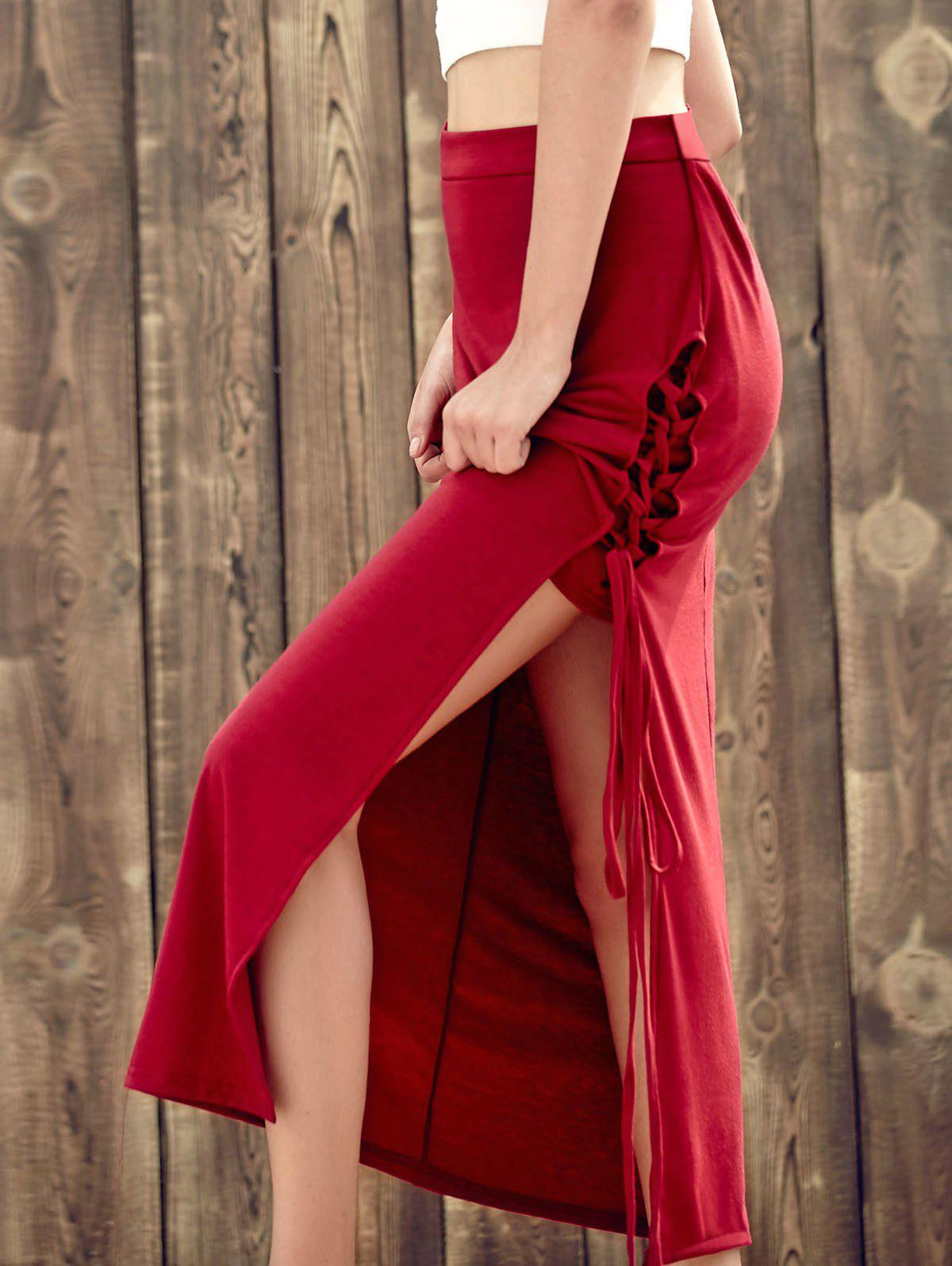 Stunning Lace-Up High Slit Red Women's Maxi Skirt - RED M