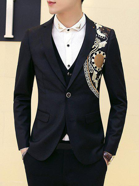 Slimming Single Button Embroidery Wedding Blazer For Men - BLACK M
