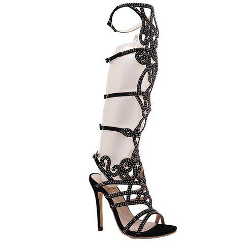 Trendy Satin and Rhinestones Design Women's Sandals