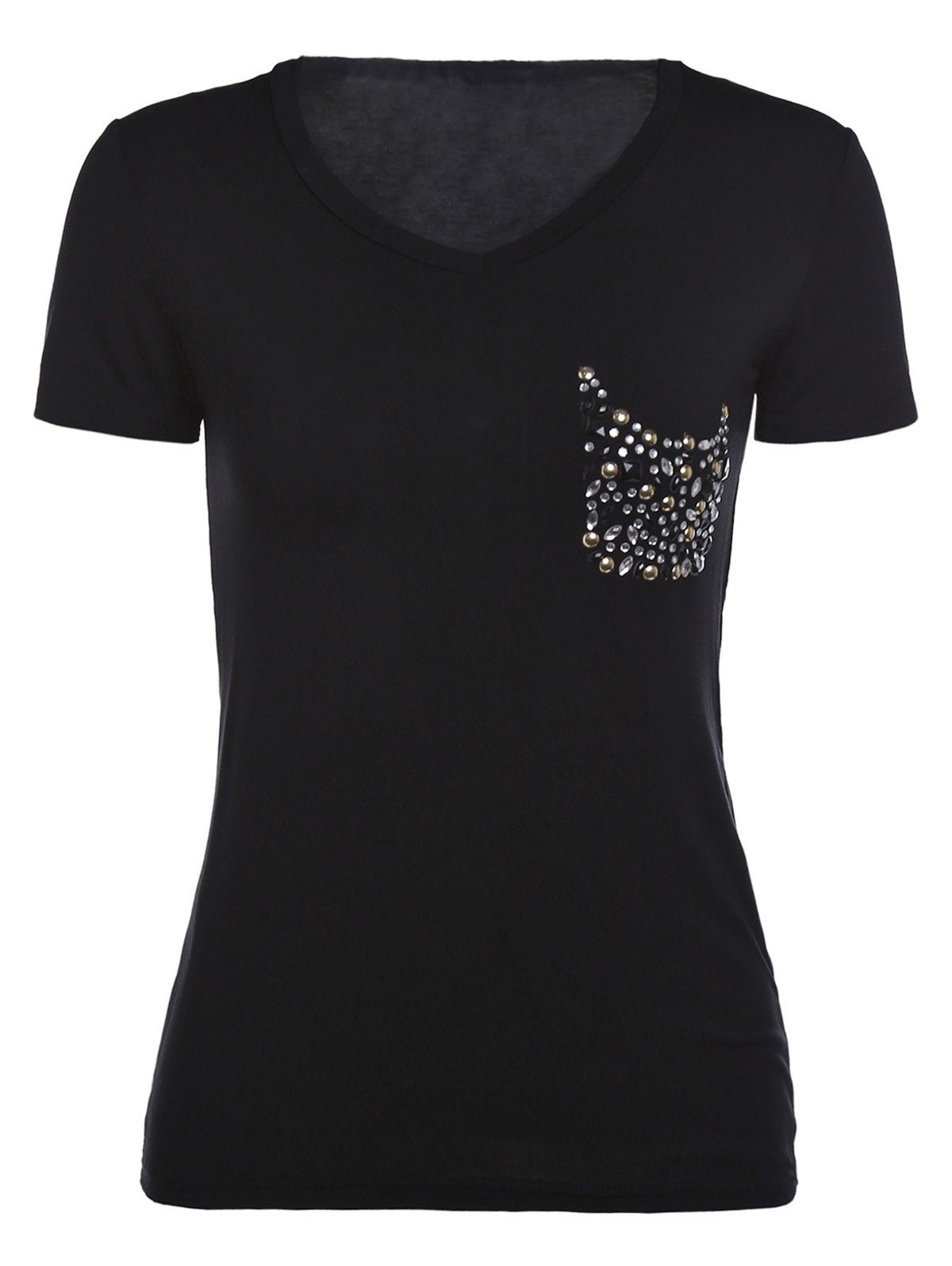 Simple Rhinestoned Short Sleeve V-Neck Women's T-Shirt - L BLACK