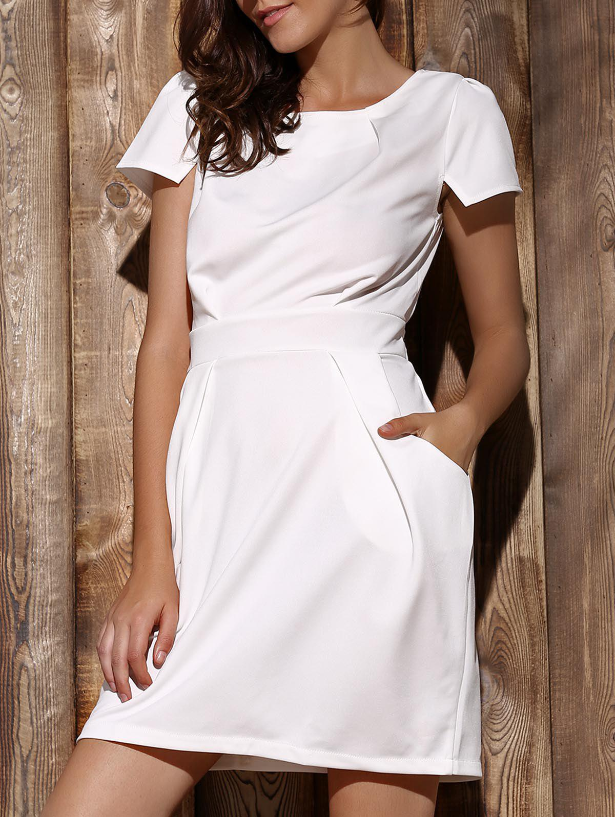 Chic Short Sleeve Round Collar Solid Color Pocket Design Women's Dress - WHITE S