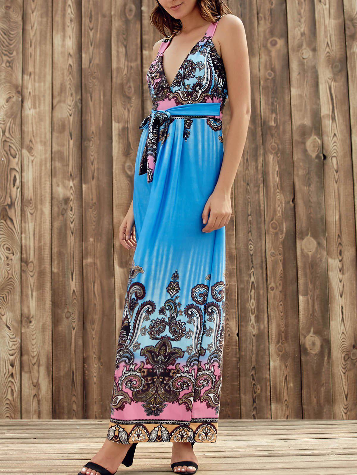 Elegant Plunging Neck Sleeveless Printed Self-Tie High Waist Women's Dress - BLUE S