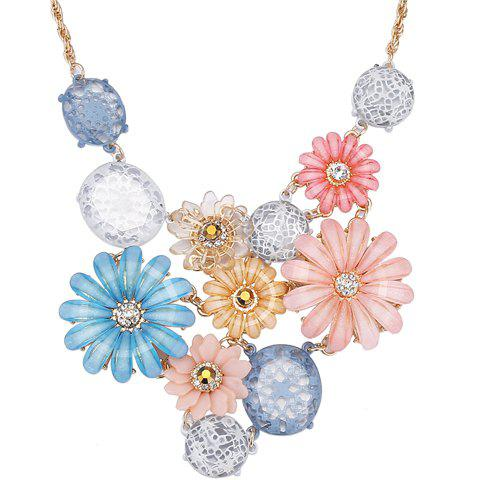 Rhinestoned Faux Crystal Flowers Necklace - COLORMIX
