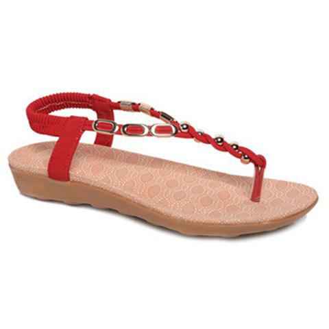 Leisure Metal and Beading Design Women's Sandals