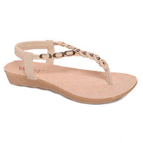 Leisure Metal and Beading Design Women's Sandals - OFF WHITE 35