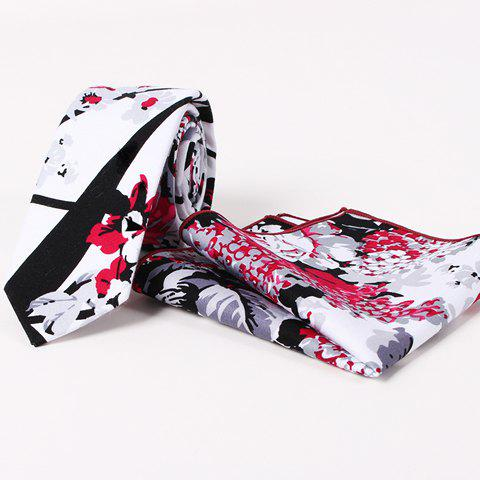 Stylish Men's Handpainted Plant Pattern Tie and Handkerchief - WHITE