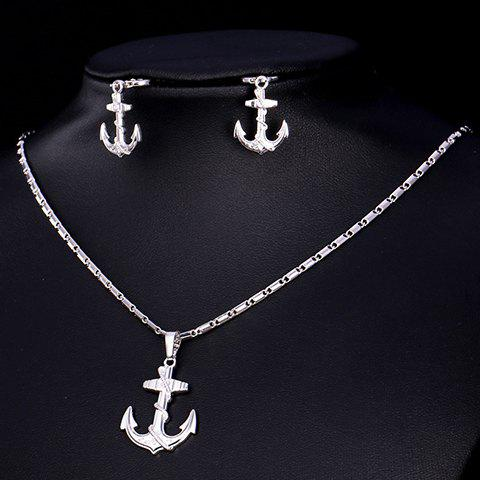A Suit of Vintage Solid Color Anchor Necklace and Earrings For Women