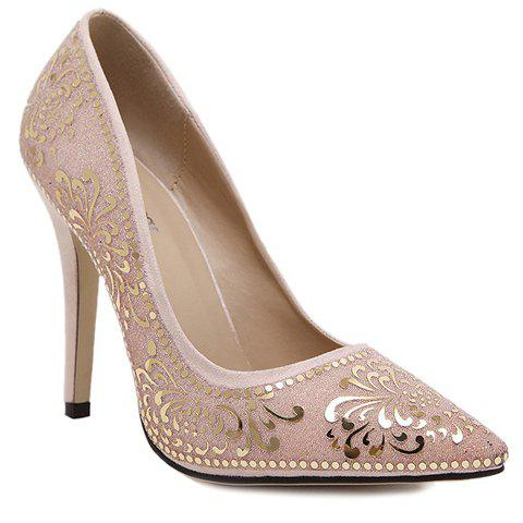 Trendy Stiletto Heel and Floral Print Design Women's Pumps - APRICOT 37