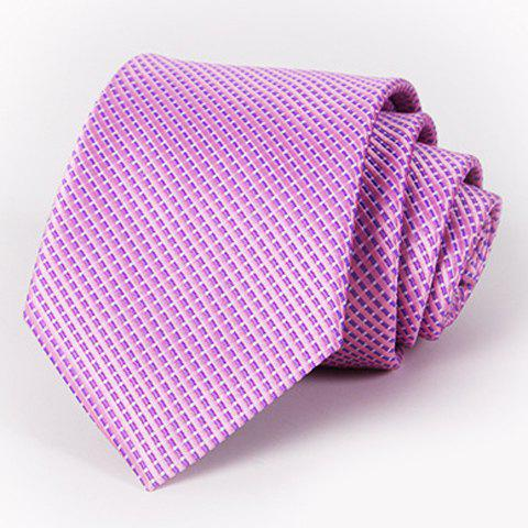 Stylish Men's Small Checkered Design Light Purple Tie - LIGHT PURPLE