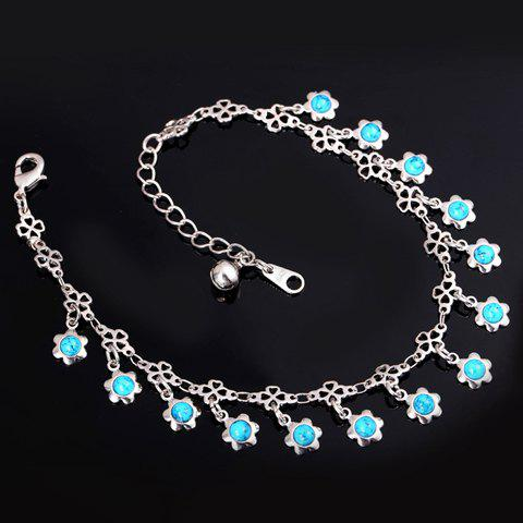 Graceful Faux Turquoise Floral Anklet For Women - SILVER
