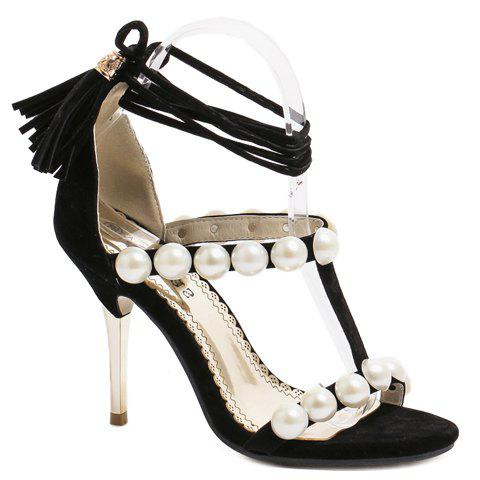 Fashionable Tassels and Faux Pearls Design Women's Sandals - BLACK 40