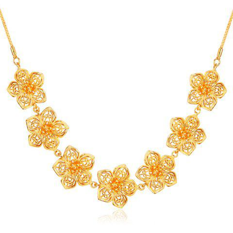Hollow Out Blossom Shape Necklace - GOLDEN