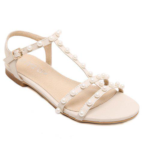 Casual Faux Pearls and T-Strap Design Women's Sandals - APRICOT 39