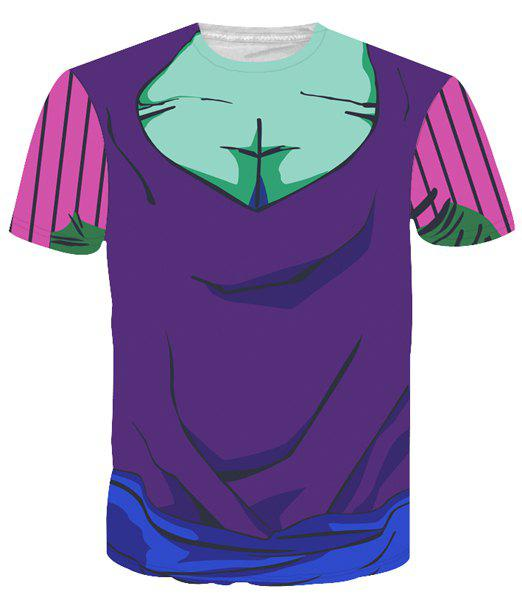 Round Neck Color Block 3D Cartoon Costume Printed Slimming Short Sleeve Men's T-Shirt - COLORMIX XL