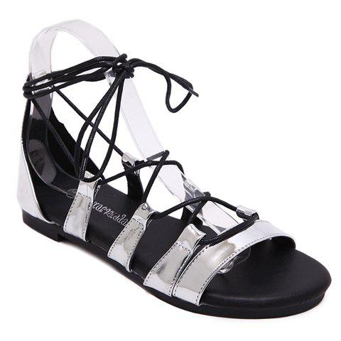 Concise Lace-Up and Flat Heel Design Women's Sandals - SILVER 35