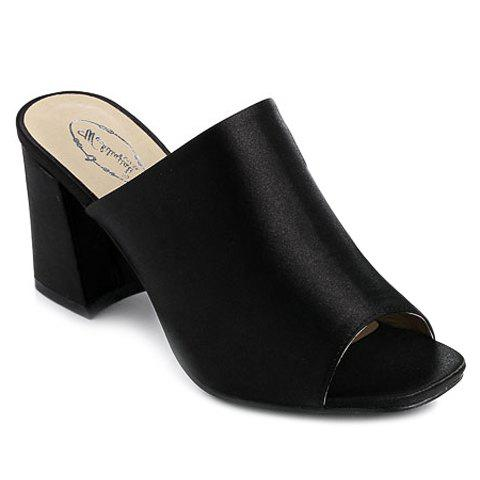 Trendy Chunky Heel and Satin Design Women's Slippers - BLACK 35