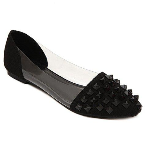 Trendy Rivets and Transparent Plastic Design Women's Flat Shoes - BLACK 39