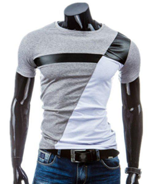 PU-Leather Splicing Design Round Neck Short Sleeve Men's T-Shirt - LIGHT GRAY M