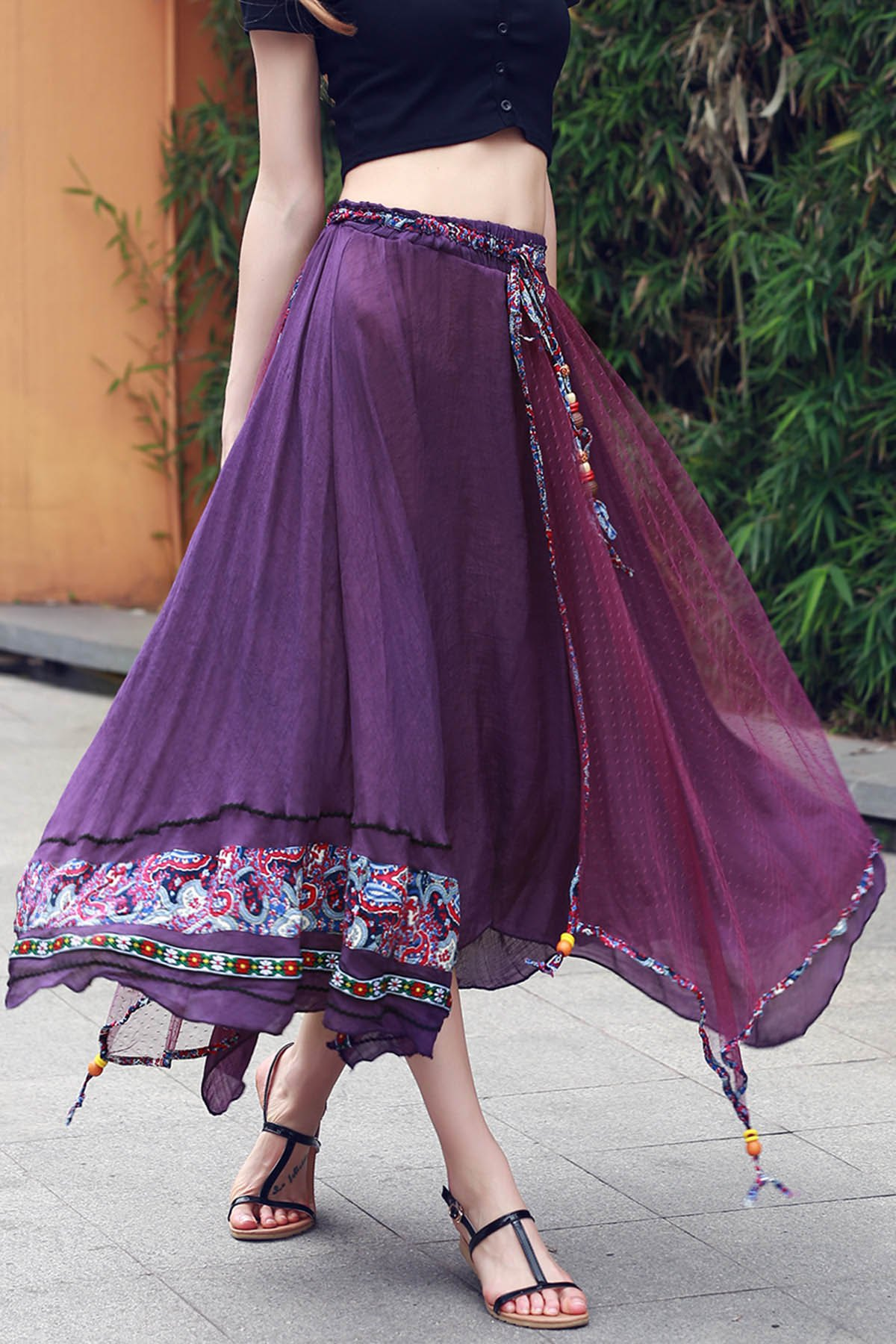 Stylish Overlayed Irregular Women's Full Skirt - VIOLET ONE SIZE(FIT SIZE XS TO M)