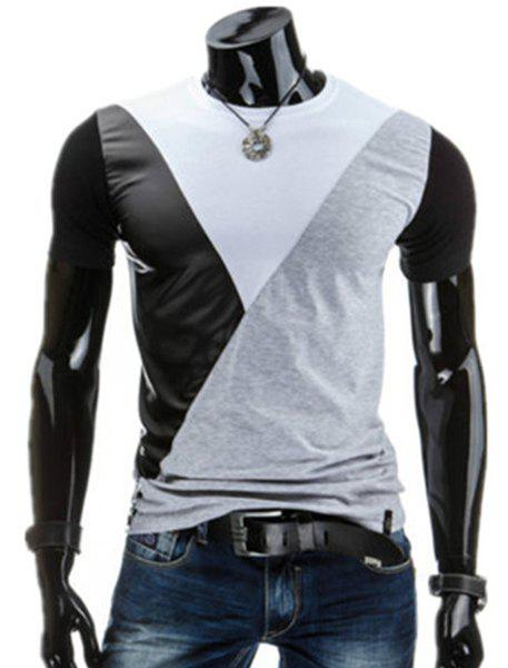 PU-Leather Spliced Design Round Neck Short Sleeve Men's T-Shirt - WHITE 2XL