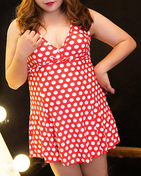 Alluring Women's Halter Polka Dot Plus Size One-Piece Swimsuit