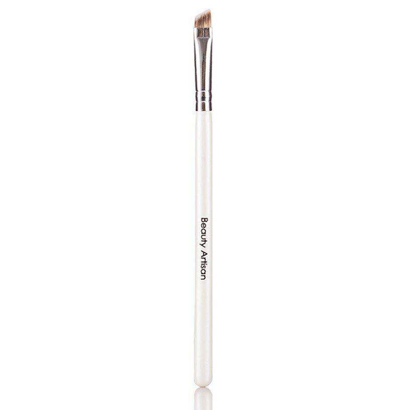 Cosmetic Angled Design Wooden Handle Fiber Eyebrow Brush - WHITE