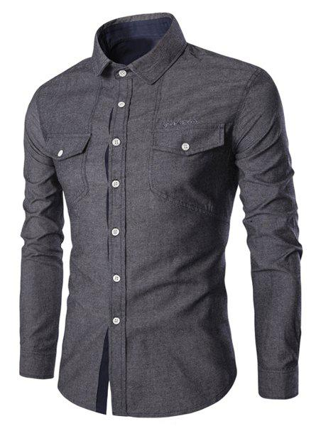 Pockets Design Embroidery Turn-Down Collar Long Sleeve Men's Denim Shirt - BLACK L