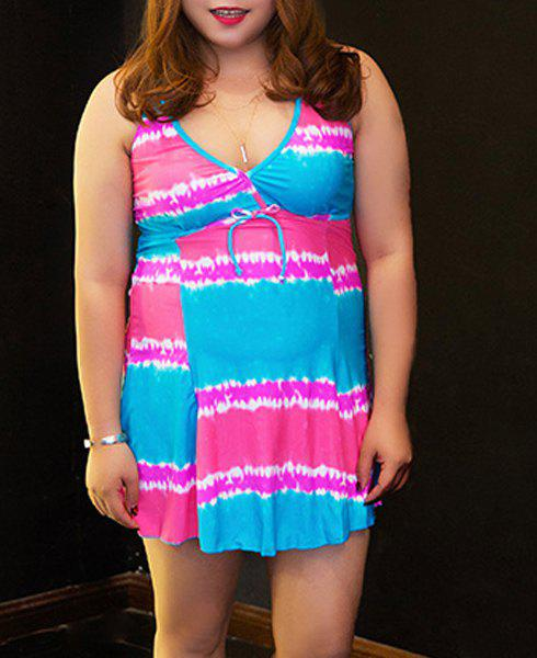 Alluring Women's Halter Color Block Plus Size One-Piece Swimsuit - BLUE 2XL