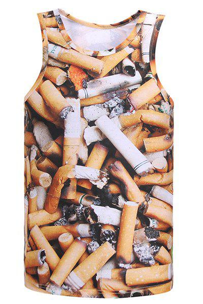 3D Cigarette Butts Print Round Neck Sleeveless Men's Tank Top - COLORMIX M