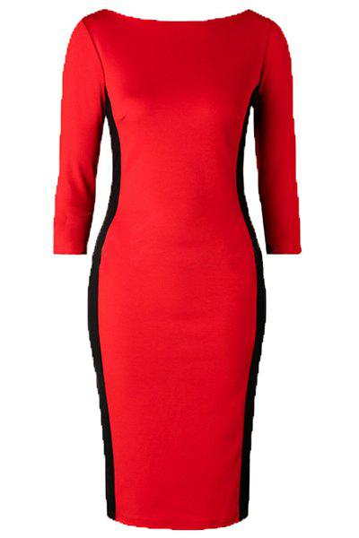 Elegant Color Block 3/4 Sleeve Round Neck Women's Dress - RED L