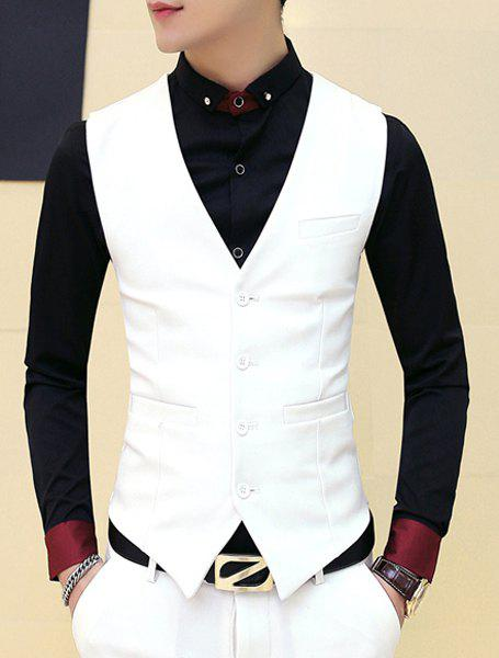 V-Neck Solid Color Single Breasted Waistcoat For Men - WHITE M