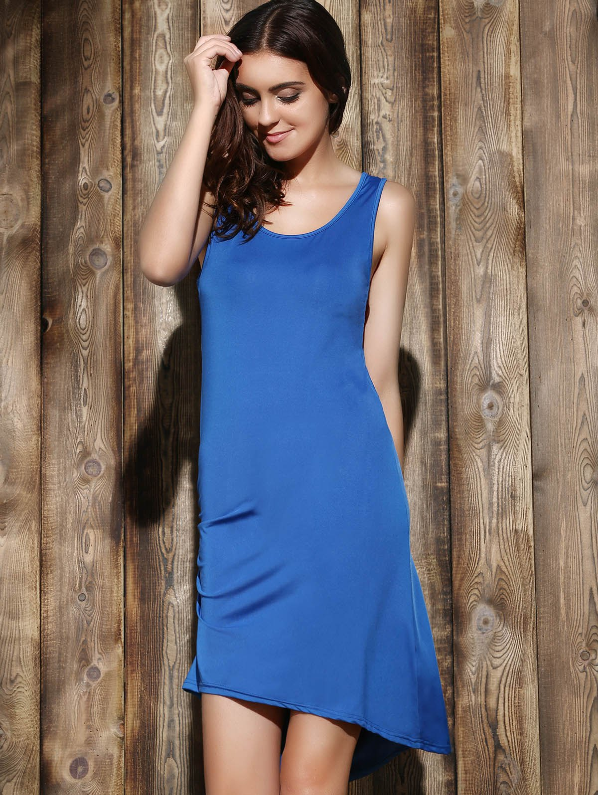 Simple Sleeveless Scoop Neck Solid Color Pleated Women's Dress - SAPPHIRE BLUE XL