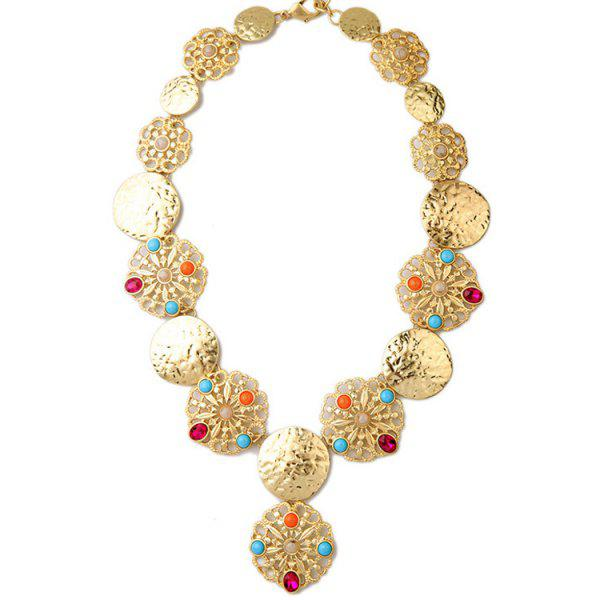 Chic Faux Gem Golden Statement Necklace For Women
