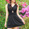 Alluring Women's V-Neck Lace Up Ruffled Swimsuit - 2XL BLACK