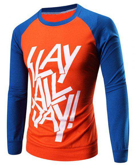 Classic Color Block Letters Print Round Neck Raglan Sleeve Men's T-Shirt - ORANGE XL