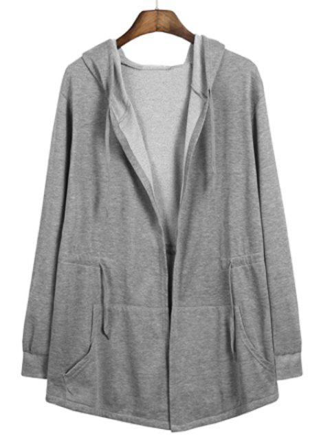 Front Pocket Drawstring Waist Solid Color Hooded Long Sleeves Men's Cloak Jacket - GRAY L