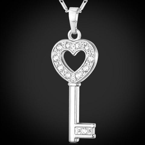Collier creux Superbe clé strass Out For Women - Argent