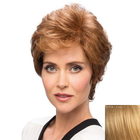 Elegant Short Bouffant Curly Side Bang Capless  Human Hair Wig - BLONDE