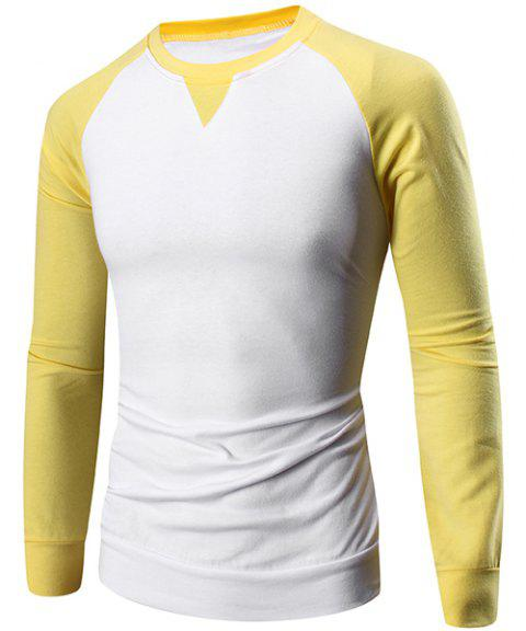 Classic Color Block Slimming Round Neck Raglan Sleeve Men's T-Shirt - YELLOW XL