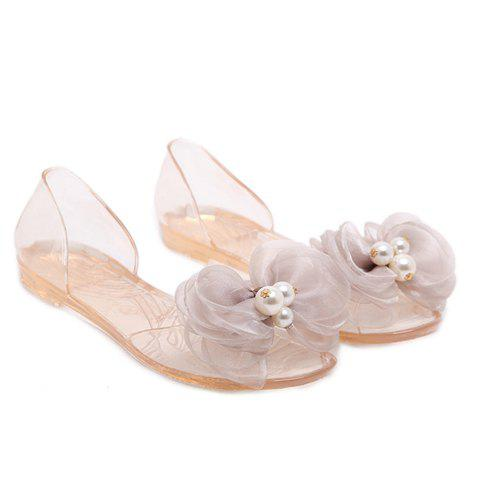 Sweet Bow and Transparent Design Women's Sandals - APRICOT 38
