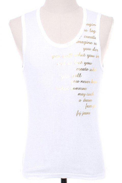 dd9341f61f82e 2019 Slimming Letters Printed Men s Pullover Gym Tank Top In WHITE ...
