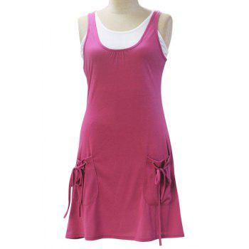 Chic Sleeveless White Tank Top + Solid Color Pocket Design Dress Women's Twinset