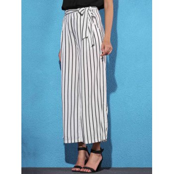 Trendy Mid Waist Striped Self Tie Belt Women's Palazzo Pants - WHITE/BLACK XL
