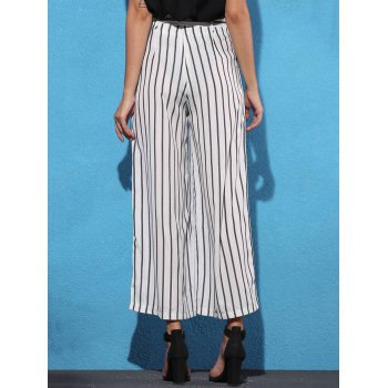 Trendy Mid Waist Striped Self Tie Belt Women's Palazzo Pants - WHITE/BLACK L