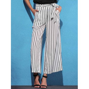 Trendy Mid Waist Striped Self Tie Belt Women's Palazzo Pants