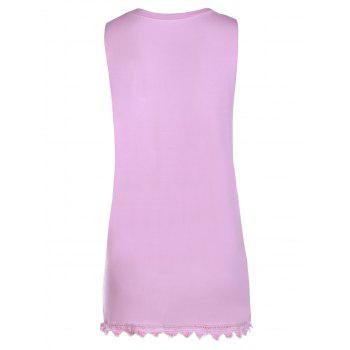Refreshing Letter Print Lace Hem Side Boob Tank Top For Women - PINK S