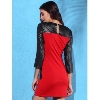 Trendy 3/4 Sleeve Round Collar Pocket Design Leather Spliced Women's Dress - RED RED