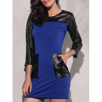 Trendy 3/4 Sleeve Round Collar Pocket Design Leather Spliced Women's Dress